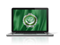 Arab League flag on laptop screen isolated on white. 3D illustration