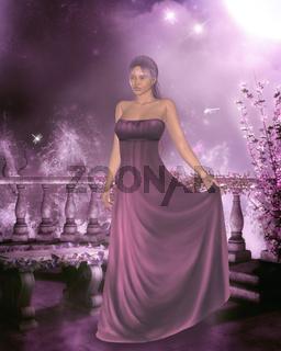 Frau in einem Abendkleid