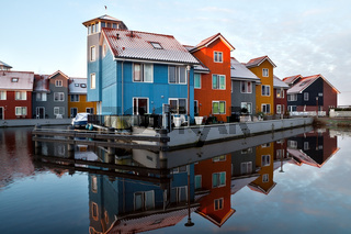 Dutch colorful buildings on water