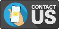 CONTACT US sign or sticker with hand holding smartphone