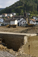 Flood disaster 2021, clean-up work on the Ahr River, Rech, Ahr Valley, Eifel, Germany, Europe