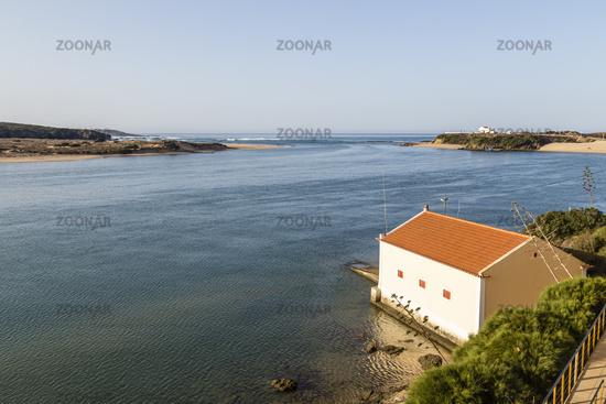 Vila Nova de Milfontes with Rio Mira and Atlantic Ocean, Alentejo, Portugal
