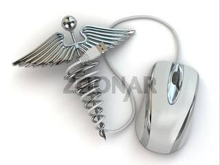 Concept of medicine online. Caduceus sign and mouse.