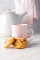 Sweet chocolate cookies. Tasty biscuits and coffee cup