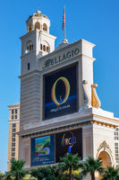 LAS VEGAS, NEVADA/USA - AUGUST 1 : View  of the Bellagio Hotel sign and tower at sunrise in Las Vegas on August 1, 2011