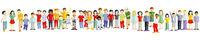 Big kids group together, illustration