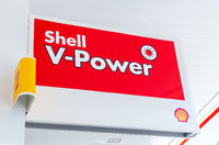Shell V-power signboard at the Shell fuel station
