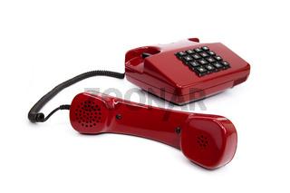 Klassisches rotes Telefon aus den Achtzigern