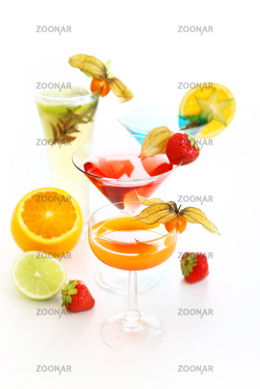 Party cocktails and longdrinks garnished with fruits