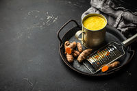 Healthy turmeric milk beverage
