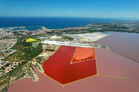 Aerial view salt lake and Torrevieja cityscape. Spain