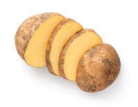 Dirty Sliced Potato Isolated Over White Background