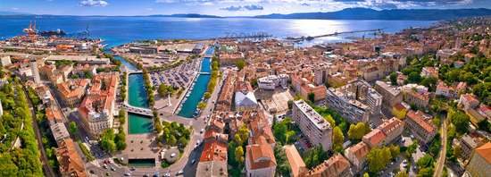 City of Rijeka waterfront and rooftops aerial panoramic view