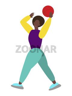 Black women playing ball. vector illustration