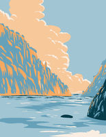 Calanques National Park or Parc National d'En Vau in En Vau on Mediterranean Coast in Southern France Art Deco WPA Poster Art