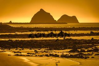 sunset coast scenery at north island New Zealand