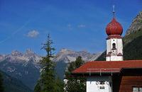 Lechtaler alps, Hornbachkette, Austria, Tyrol, church of bschlabs