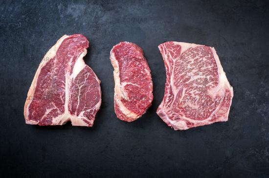 Raw dry aged wagyu porterhouse beef steak