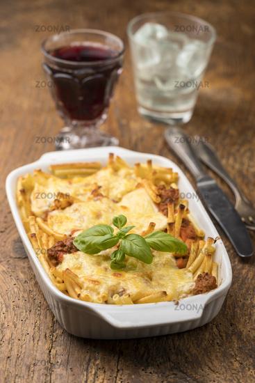 baked italian macaroni pasta with cheese