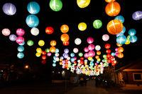 lanterns hanging up at lukang old street
