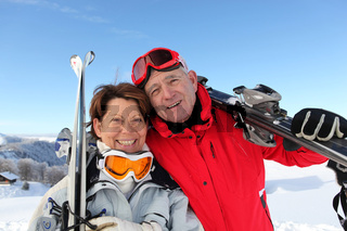 Couple on the ski slopes