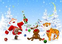 Santa, deer and tiger celebrate Christmas