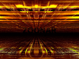 Golden background with perspective effect - abstract 3d illustration