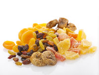 Dry fruits  on white background
