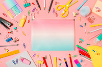 Back to school concept. Copy space. Pink bg