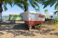 Panama Armuelles, wooden boat in the ecological park