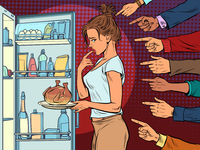Woman with fried chicken or turkey, weight loss diet. shame condemnation of others