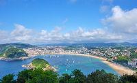 The famous La Concha beach in San Sebastian from above