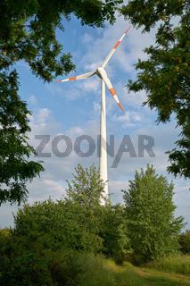 Windkraftanlage in einer Naturlandschaft am Rande der Stadt Magdeburg