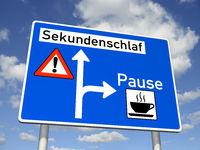 Information sign: Microsleep 8in German: Sekundenschlaf)
