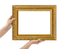 Wooden picture frame in hands