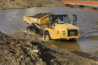 Flood disaster 2021, a dump truck in the river Ahr with a temporary bridge, Rech, Germany, Europe