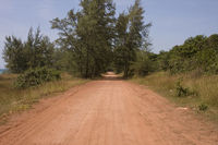 Red Dusty dirt road,Phu,Quoc,island,Vietnam