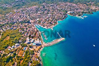 Town of Malinska coastline aerial view, Island of Krk