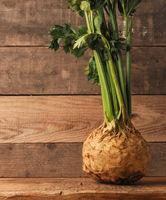 Organic celeriac on a rustic wooden table