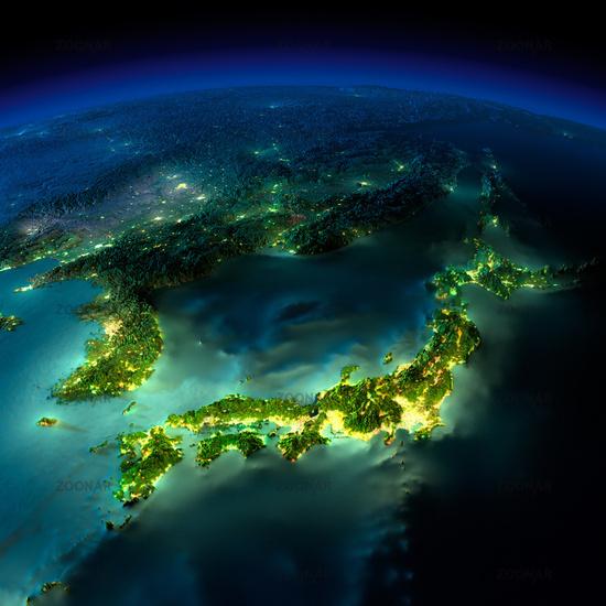 Night Earth. A piece of Asia - Japan, Korea, China