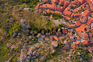 Drone aerial  above top view of Monsanto historic village, in Portugal