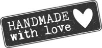 grungy HANDMADE WITH LOVE stamp or sticker with heart