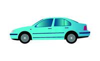 Blue car sedan on white background - Vector