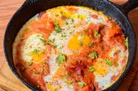 Shakshuka. Maghrebi Tomato Poached Egg Breakfast Dish