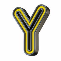 Yellow black outlined font Letter Y 3D