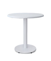 Front view of white round table