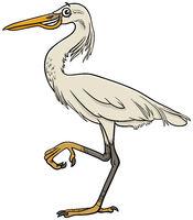 cartoon egret bird comic animal character