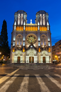 Basilica of Notre Dame de Nice at Night in France