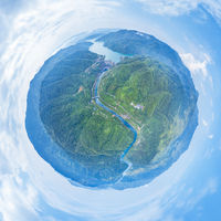 little planet image of small hydroelectric station