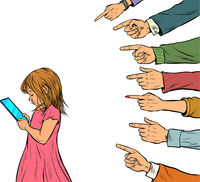 A little girl uses a smartphone. Adults discuss the passion of young people. Generational conflict Isolate on a white background